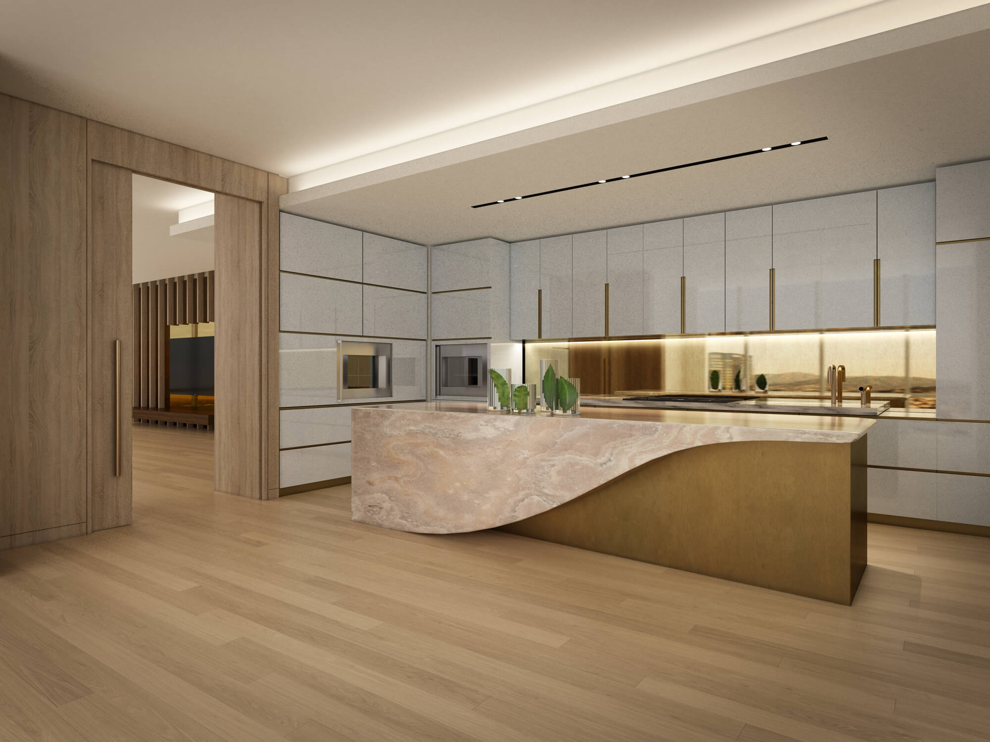 THEA luxury kitchen with tan finishing