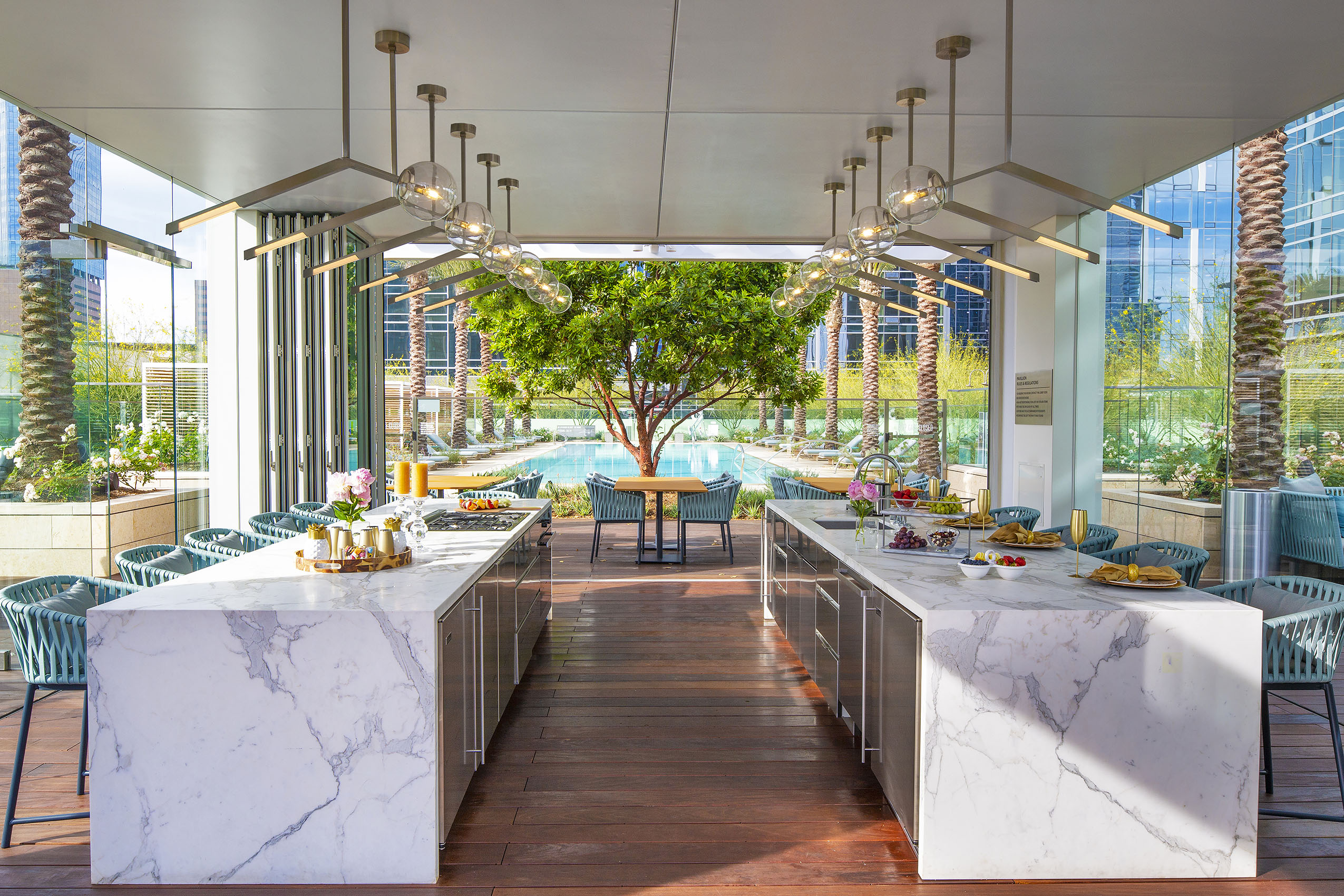 Residences in Downtown Los Angeles for Rent - THEA at Metropolis Luxurious Pool Pavilion with Catering Kitchen and Ample Seating