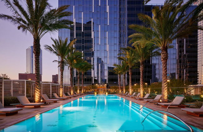 Pool deck at THEA residences in Downtown Los Angeles