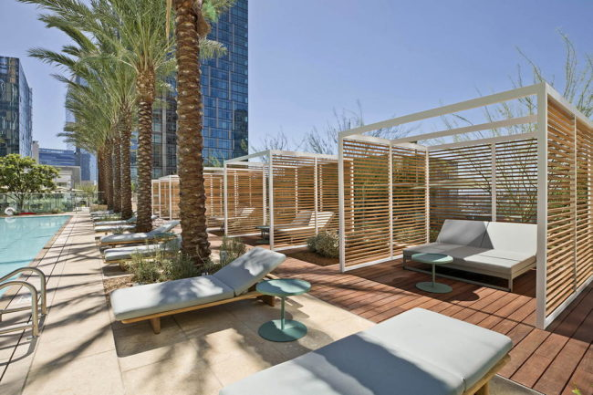 Cabanas on Pool Deck resort style amenities at THEA residences in Downtown Los Angeles